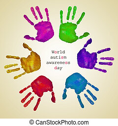 handprints of different colors and text world autism...