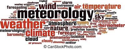 meteorología, palabra, nube,