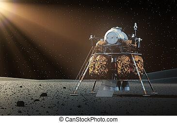 espacio, lander, en, el, planeta,