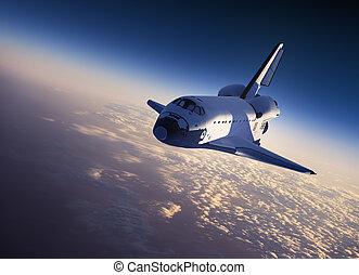 espace, navette, atterrissage,