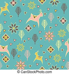 seamless pattern with deers Ethnic motifs