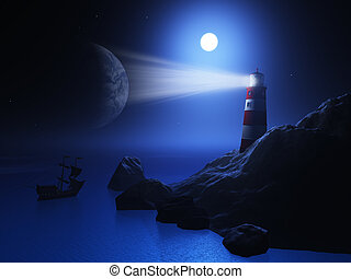 3D lighthouse with ship on sea - 3D render of a lighthouse...