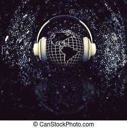 3D globe with headphones