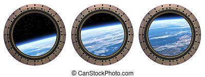 Space Station Portholes. 3D Scene. - Three Space Station...