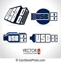 USB design, vector illustration. - USB design over white...