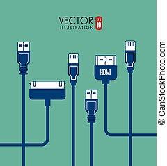 USB design, vector illustration. - USB design over blue...