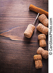 copyspace background corks of champagne with corkscrew on...