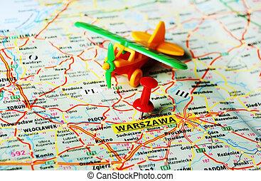 Warszawa ,Poland map airplane - Close up of Warsaw , Poland...