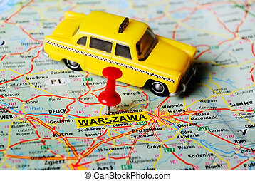 Warszawa ,Poland map taxi - Close up of Warsaw , Poland map...