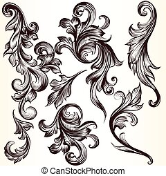 Collection of vector decorative swi - Vector set of...