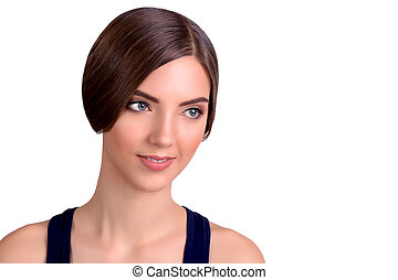 Young Beautiful Brown Short Hair Woman Looking away