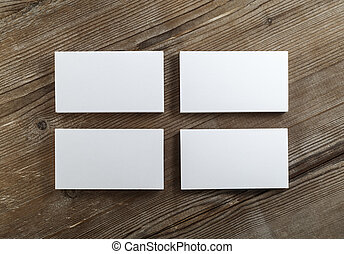 Blank business cards - Blank cardboard business cards on a...