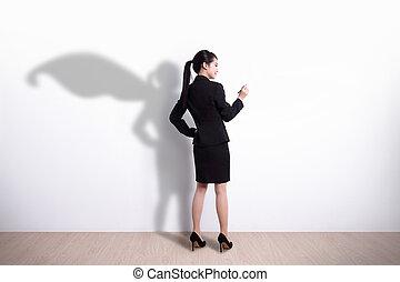 mujer,  Superhero, empresa / negocio, escritura