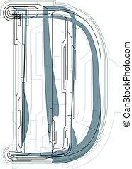 Font illustration LETTER D - Font illustration uppercase...