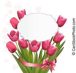 Celebration background with pink tulips. Vector.
