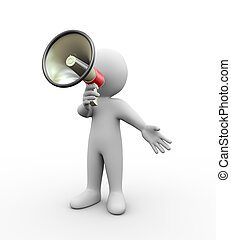 3d person with megaphone - 3d illustration of man with...