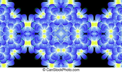 Blue flowers - Pattern of blue flowers Appear in the center,...