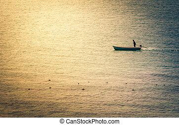 Boat on the blue sea vintage
