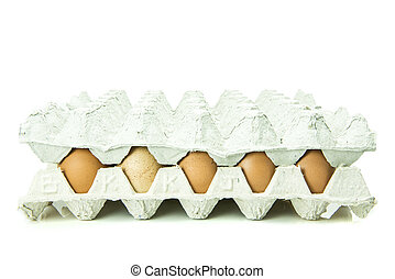 Eggs in paper tray isolated on whit