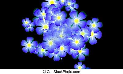 Blue flowers appear in the center, and scatter in different...