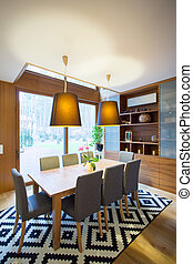 Dining room - Contemporary spacious dining room with fancy...