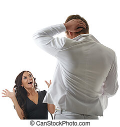 Surprised woman looking at man undressing