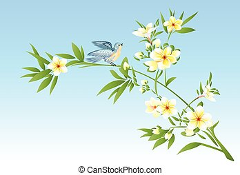 Plumeria with a bird
