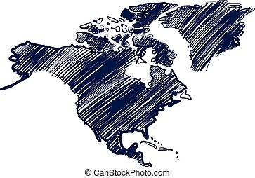 North america - north america map hand drawn background...