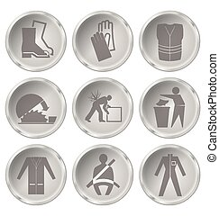 Health and Safety Icons - Monochrome construction...