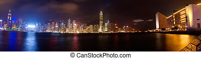 Dramatical panoramic of Victoria harbor in Hong kong - It is...