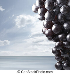 Bunch of grapes on a sea background