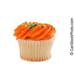 Orange Cupcake with sprinkles on white