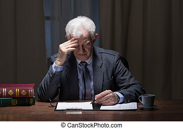 Old lonely businessman - Image of old lonely businessman...