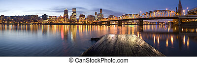 Portland, Oregon Panorama Night scene with light reflections...
