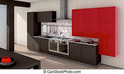 Kitchen - A modern kitchen interior Made in 3d