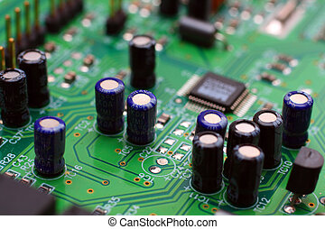 electronics - electronic board with components close-up