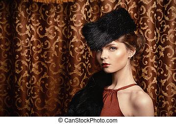 duchess - Beautiful young woman posing in fur. Luxury....