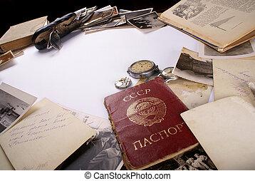 Good bye, USSR! - Vintage frame background in old USSR style