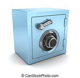blue plastic safe - 3d illustration of blue plastic safe...