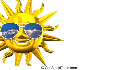 Golden Smiling Sun With Sunglasses On White Text Space 3D...