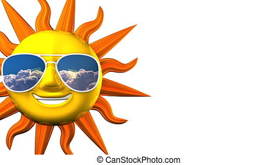 Smiling Sun With Sunglasses On White Text Space 3D render...