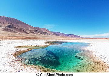 Salinas in Argentina - Ojo del Mar in a salt desert in the...