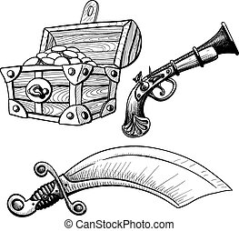 Little Pirate Ste - Pirate Treasure Chest saber and pistol