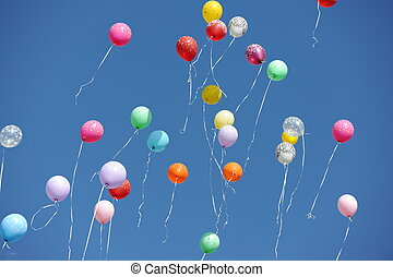 baloons - many balloons in a blue sky