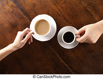 Concept of love and coffee - Concept of male and female...