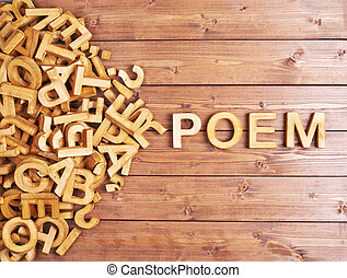 Word poem made with wooden letters - Word poem made with...