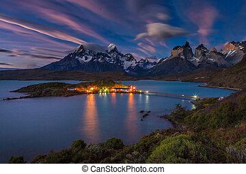 Lago Pehoe National Park Torres del Paine in southern Chile...