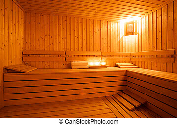 Sauna interior - Interior of a wooden finnish sauna
