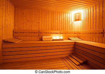 Sauna interior - Interior of a wooden finnish sauna.