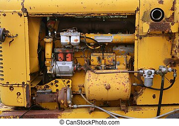Diesel yellow tractor truck engine detail - Diesel yellow...